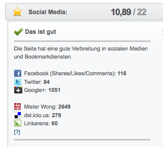 Seitwert QuickCheck Google+1