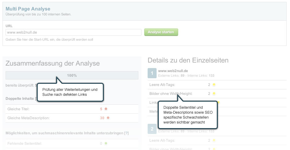Multi Page Analyse