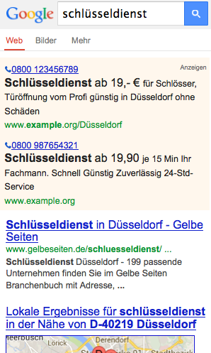 Mobile Suche Schlüsseldienst Düsseldorf