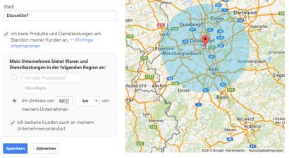 Google my Business Einzugsgebiet