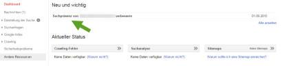 google-webmaster-tools-property-nachricht